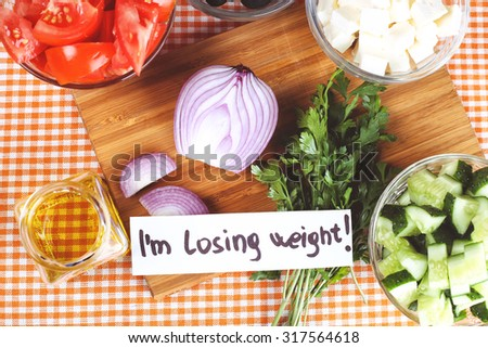 Diet Concept Diet Food Kitchen Table Stock Photo 313104737