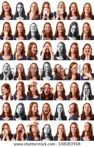 49 different expressions of a young Caucasian woman over white background. - stock photo