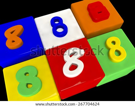8 different numbers in perspective on black - stock photo