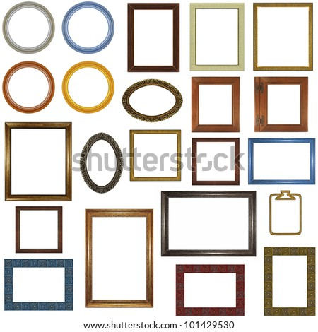 22 different picture frames isolated on white. - stock photo