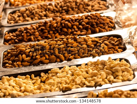 Different types of nuts. - stock photo