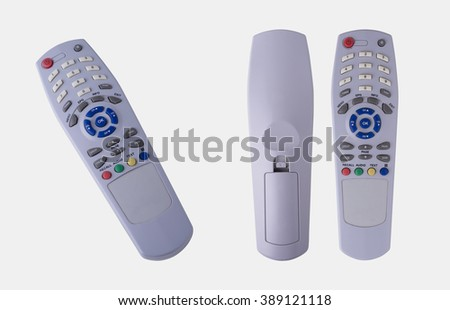 3 Different Views of Remote Control Isolated on White Background, Clipping Path Included. - stock photo