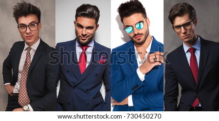 4 different young business men posing in studio