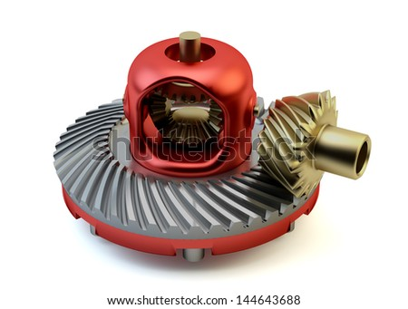 Differential gear isolated on white background - stock photo
