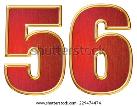 5 & 6 digit from red with gold shiny frame alphabet set, isolated on white. Computer generated 3D photo rendering.  - stock photo