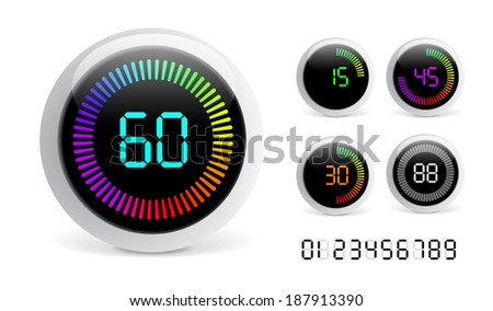 Digital Countdown Timer isolated on white background