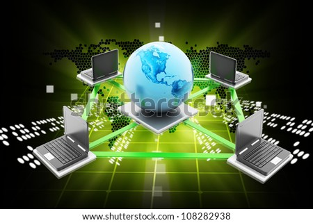 Digital illustration of Data transfering in color background - stock photo