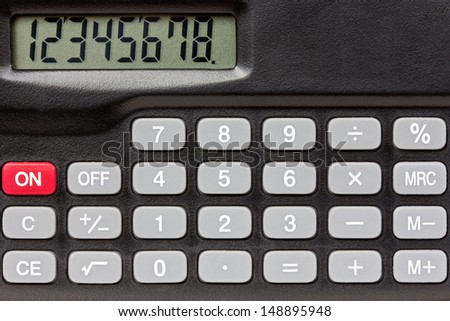 Digital keypad background. Close-up view of electronic calculator
