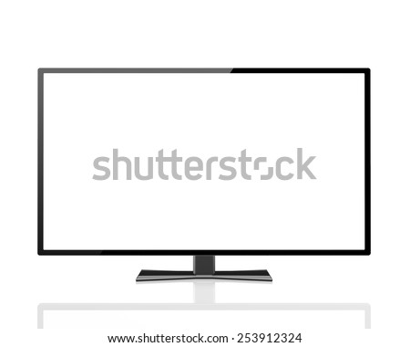 digital technology business concept: blank TV  display with empty screen isolated on white background