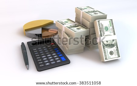 3 Dimensional Graphic 100 dollar bill stack about financial and business concept, Render at high resolution on a white background