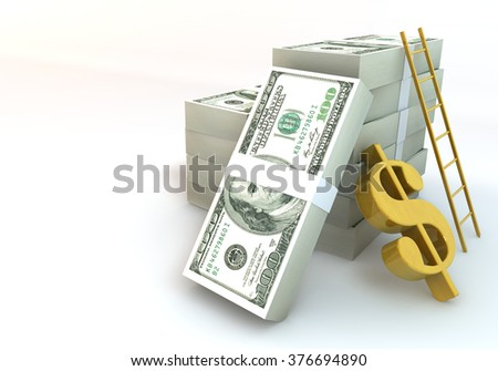 3 Dimensional Graphic 100 dollar bills about business concept, Render at high resolution on a white background