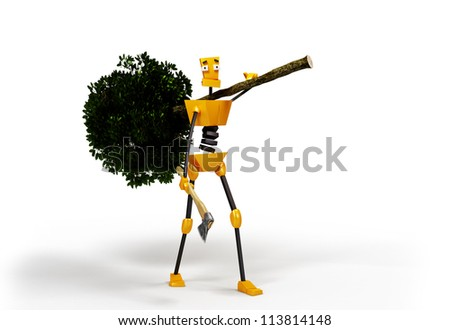 3-dimensional image of robot carrying a felled tree. - stock photo