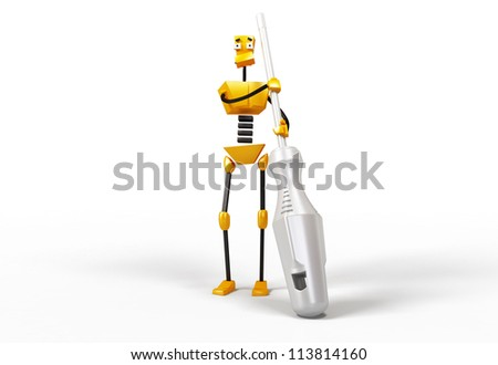 3-dimensional image of robot with a screwdriver - stock photo