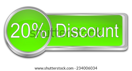 20% Discount Button - stock photo