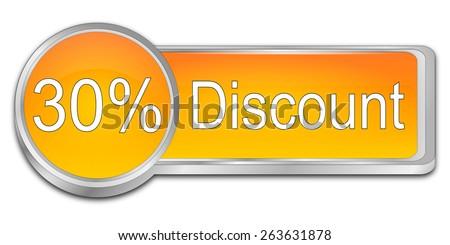 30% Discount Button - stock photo
