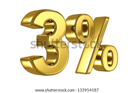 3% discount digits in gold metal, three percent off golden sign