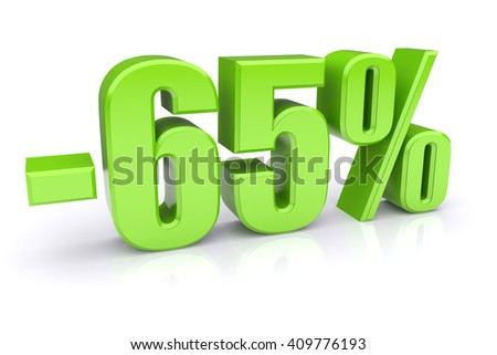 65% discount icon on a white background