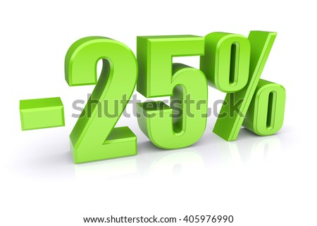 25% discount icon on a white background 3d illustration - stock photo