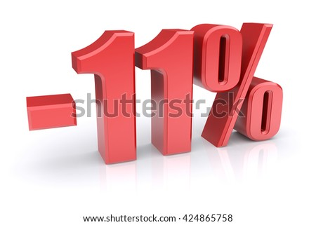 11% discount icon on a white background. 3d rendered image
