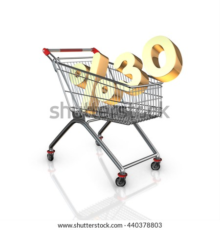 % 30 discount in shopping cart, 3d render with white background isolated