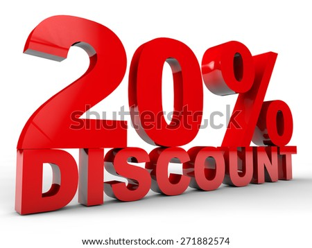 20% Discount over white background - stock photo