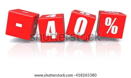 40% discount red cubes on a white background. 3d rendered image - stock photo