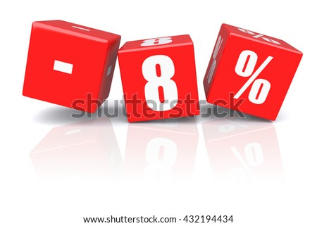 8% discount red cubes on a white background. 3d rendered image - stock photo