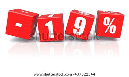 19% discount red cubes on a white background. 3d rendered image - stock photo