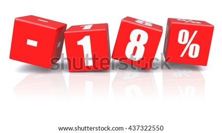 18% discount red cubes on a white background. 3d rendered image - stock photo