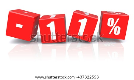11% discount red cubes on a white background. 3d rendered image