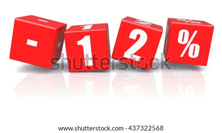 12% discount red cubes on a white background. 3d rendered image - stock photo