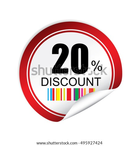 20% discount red sticker, button, label and sign.