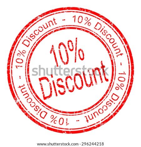 10% Discount rubber stamp - stock photo