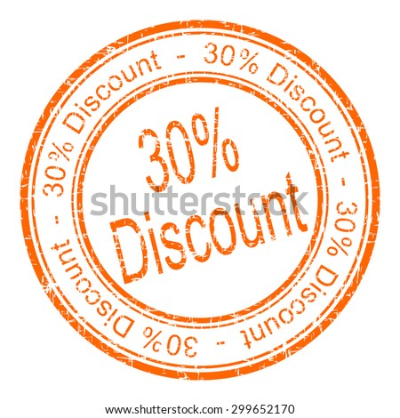 30% Discount rubber stamp - stock photo