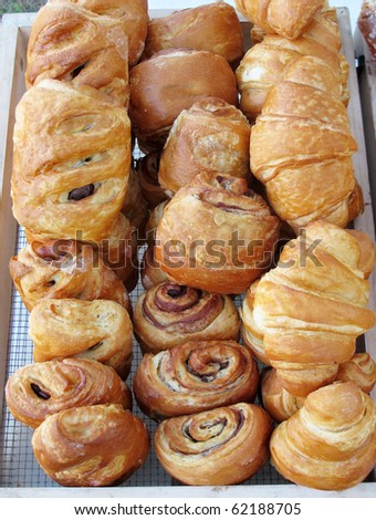 display of croissants and baked goods