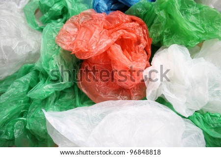 disposable plastic bags. - stock photo