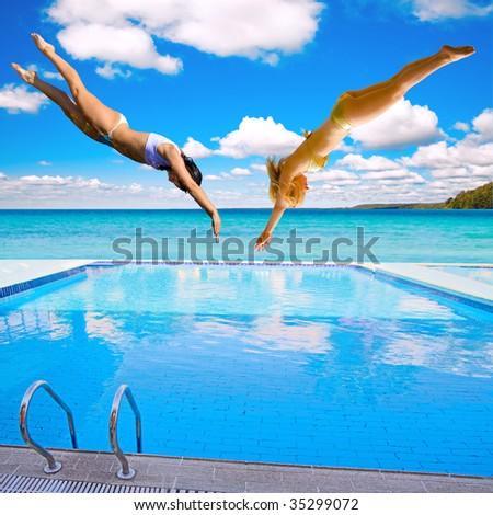 2 Diving girls - stock photo
