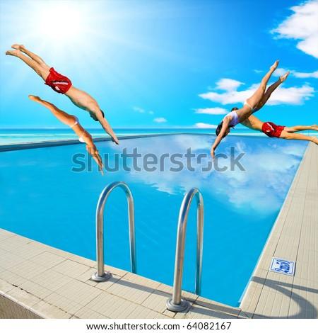 4 Diving Stunt - stock photo