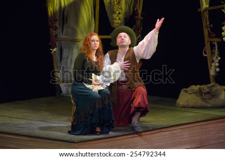 DNIPROPETROVSK, UKRAINE - FABRUARY 21: Members of the Dnipropetrovsk Youth Theatre VERIM perform DULCINEA TOBOSSKAYA on February 21, 2015 in Dnipropetrovsk, Ukraine - stock photo