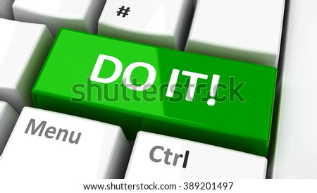 """Do it!"" key on the computer keyboard - call to action, three-dimensional rendering"