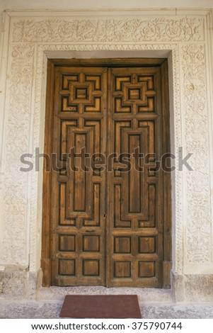 """""""Doctors door"""" of the university of Alcala de Henares - stock photo"""