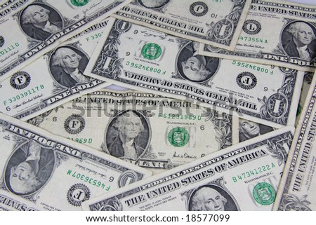 1 dollar banknotes background