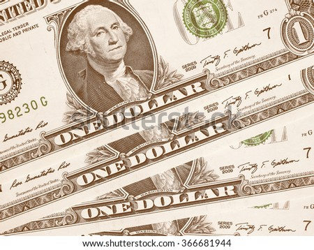 Dollar banknotes 1 Dollar currency of the United States useful as a background vintage - stock photo