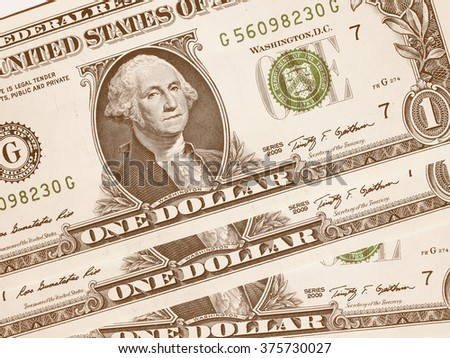 Dollar banknotes 1 Dollar currency of the United States useful as a background vintage