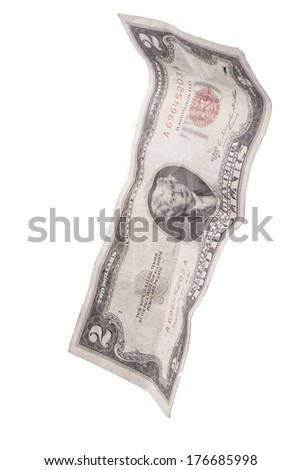 2 dollar bill floating in the air - stock photo