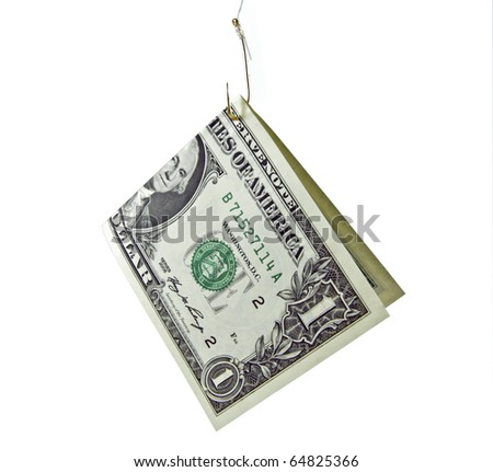 1 dollar bill on a fishhook isolated on a white background - stock photo