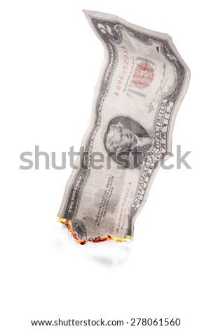 $2 dollar bill on fire - stock photo