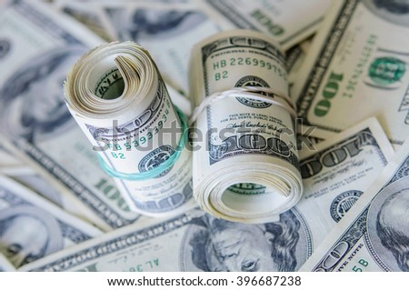 100 dollar bills - stock photo