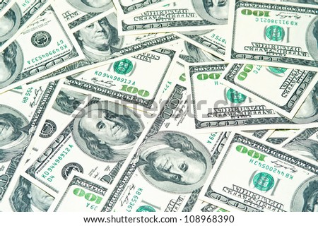 100 dollar bills for the business a white background - stock photo