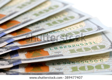 100 dollar bills isolated with white background
